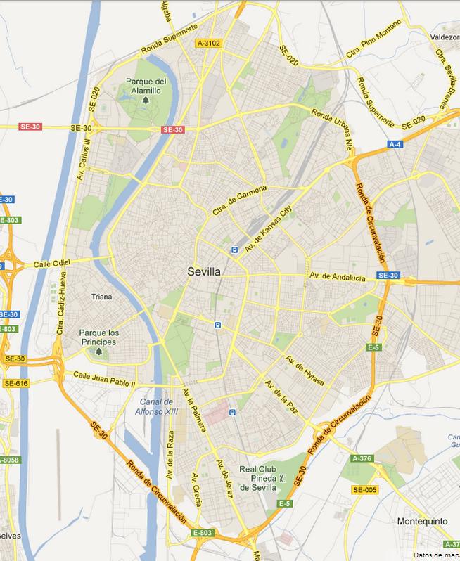 Mapa Callejero De Sevilla.A Pie Mapa Callejero A Orillas Del Guadalquivir
